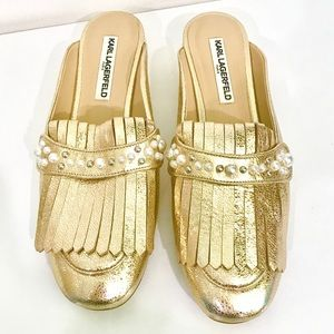 Karl Lagerfeld Gold Paris Becky Loafers w/ Pearls